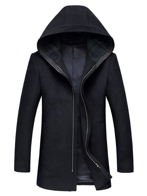 Hooded Longline Zip Up Wool Coat CADETBLUE XL in Jackets & Coat