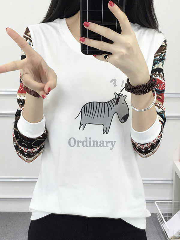 Animal Print Ordinary Raglan Tee - WHITE M