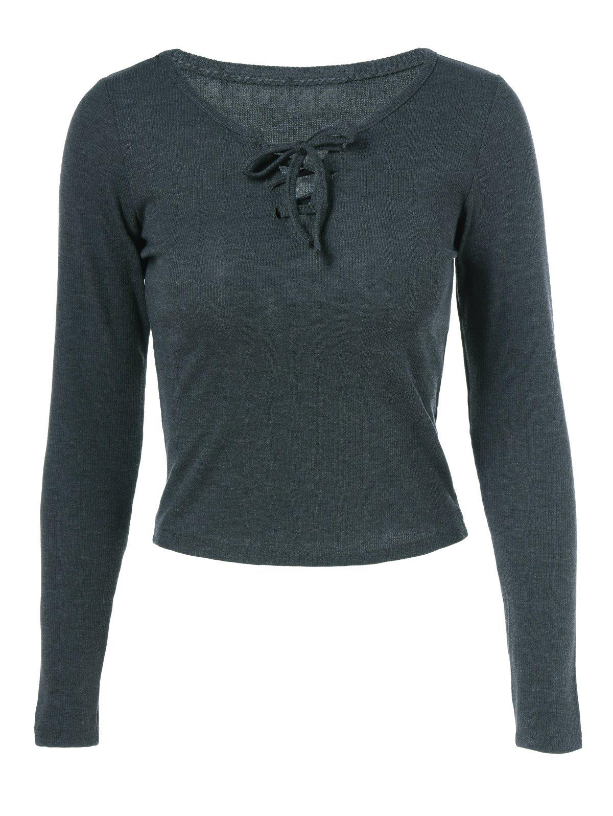 Lace Up Slimming Long Sleeve T Shirt - DEEP GRAY L