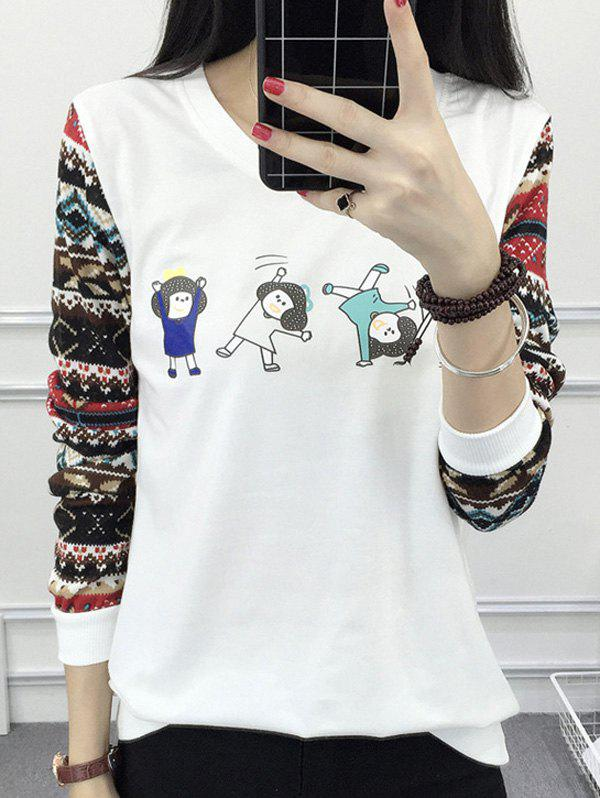Cartoon Print Raglan Tee - WHITE M