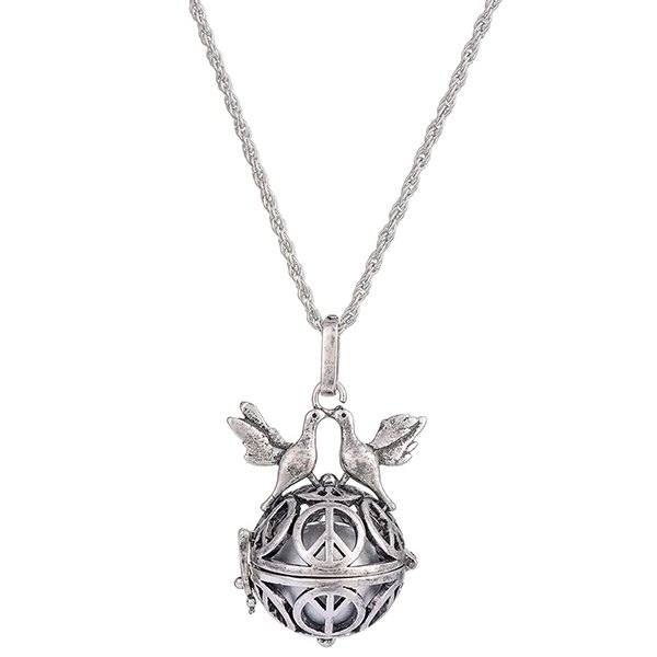 locket bead peace doves necklace silver in