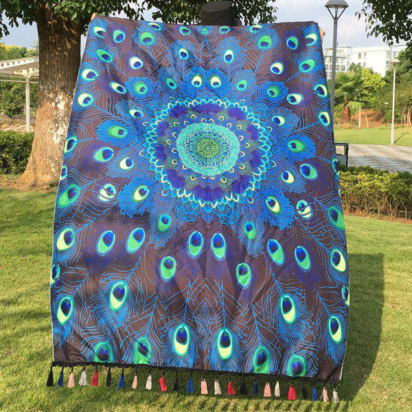 Peacock Feather Printed Mandala Beach Scarf beibehang chinese peacock feather flower
