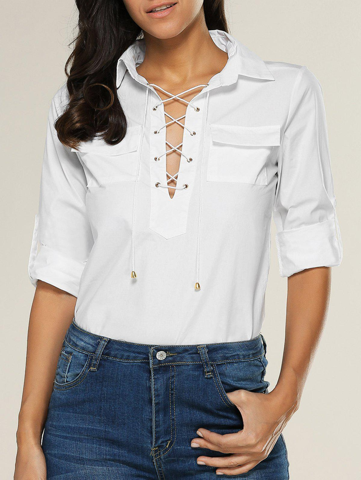 Lace Up Double Pocket Blouse - Blanc S