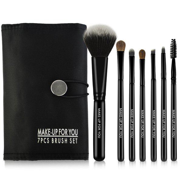 7 Pcs Facial Makeup Brushes Set with Brush BagAccessories<br><br><br>Color: BLACK