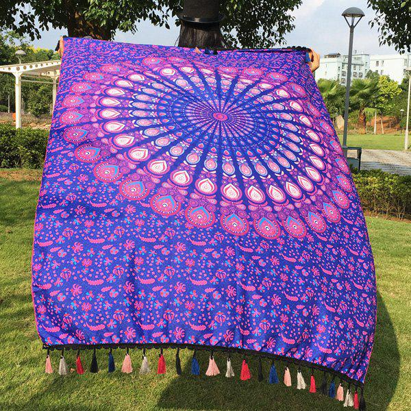 Tassel Feather Printed Mandala Beach Scarf - PURPLE