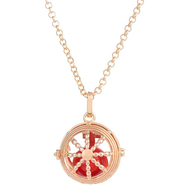 circle rudder bead locket necklace golden in