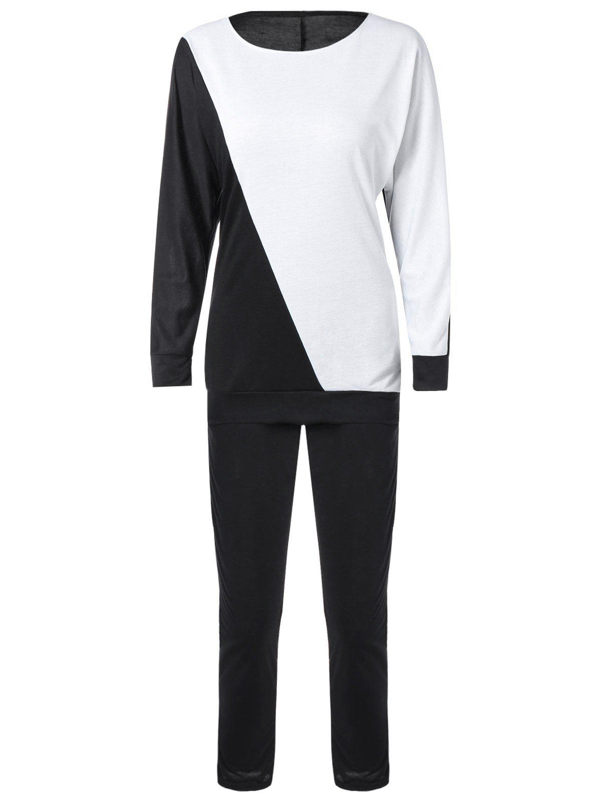 Long Sleeve Color Block Sweatshirt avec Pants - Blanc et Noir XL
