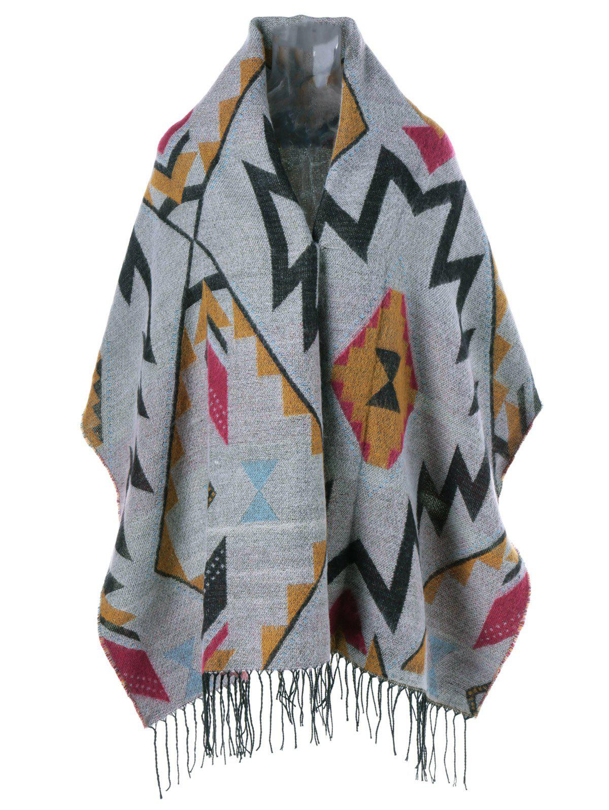 Geometrical Fringed Cape - GRAY ONE SIZE