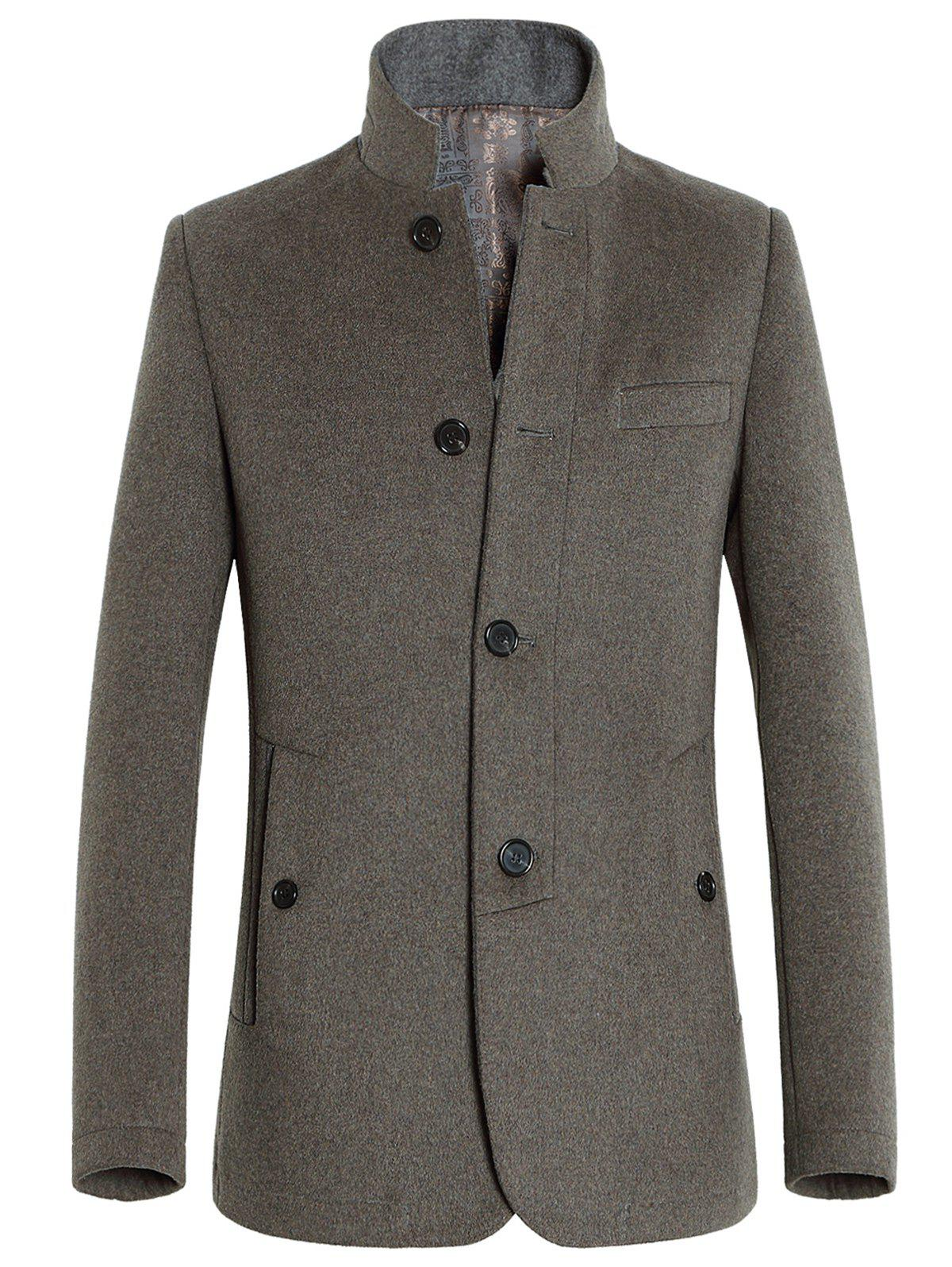 Buy Stand Collar Single-Breasted Slimming Woolen Coat CAMEL