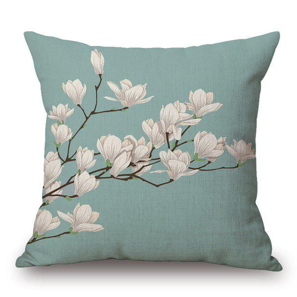 Fresh Style Home Decor Flax Light Purple Blossom Pattern Pillow Case - LIGHT GREEN
