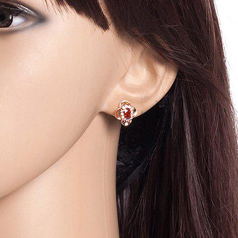 Faux Ruby strass Clover Boucles d'oreilles - Or Rose