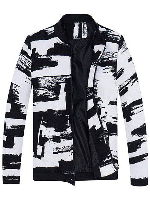 Rib Insert Abstract Print Zip Up JacketMen<br><br><br>Size: 4XL<br>Color: WHITE