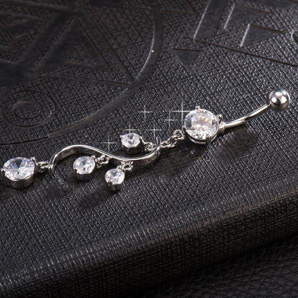 Rhinestone Adorn Navel Button - WHITE