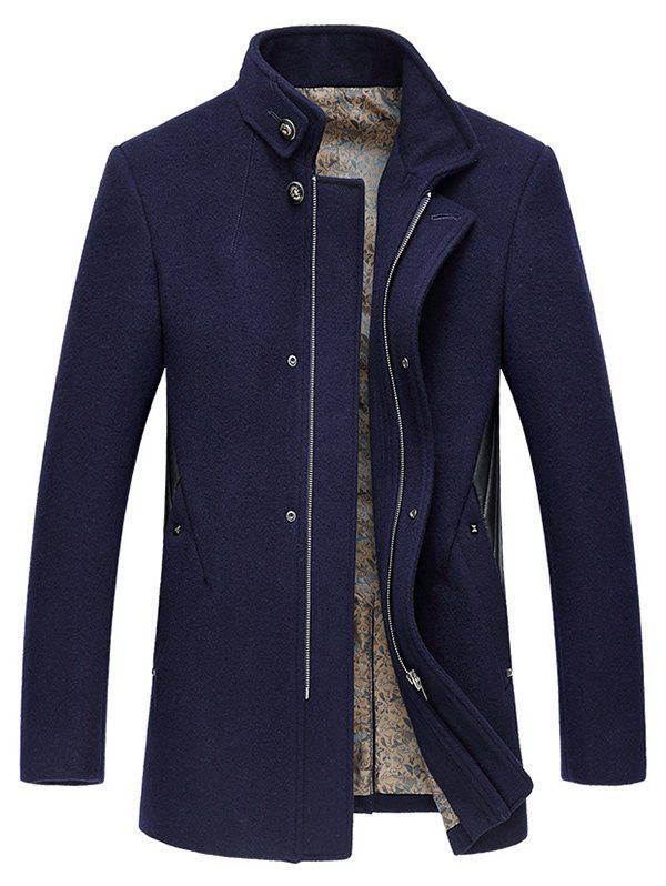 Tenez-Coat Collar Zip-Up broderie de laine - Cadetblue 2XL