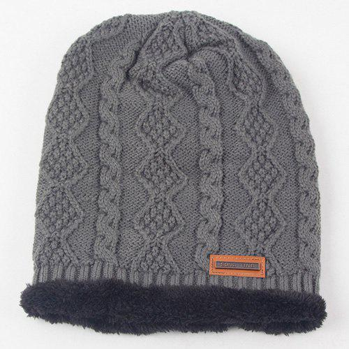 Winter Rhombus Hemp Flowers Thicken Double-Deck Knit Ski HatAccessories<br><br><br>Color: GRAY