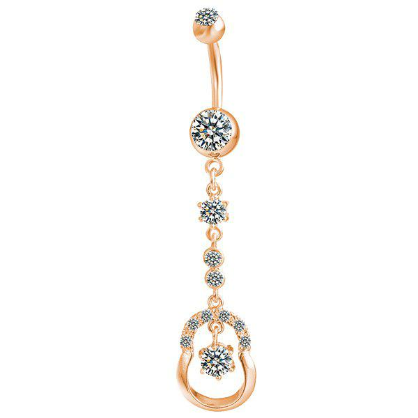 Layered Rhinestone Embellished Navel Button - GOLDEN