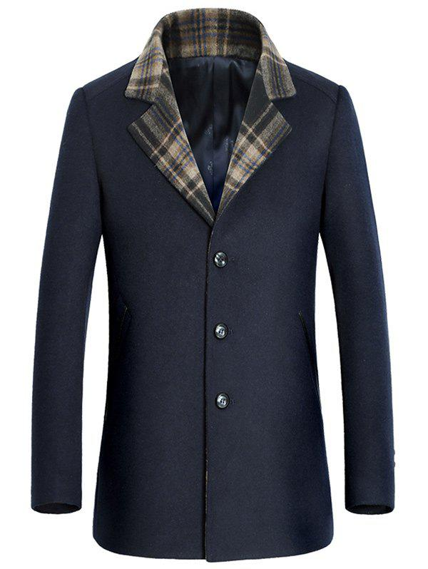 Tartan Splicing Single-breasted Tournez-Down Collar Coat Woolen - Cadetblue L