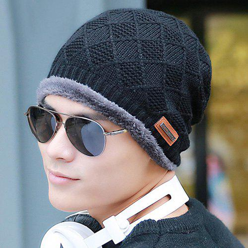Winter Rhombus Crochet Thicken Double-Deck Knit Ski Hat - BLACK