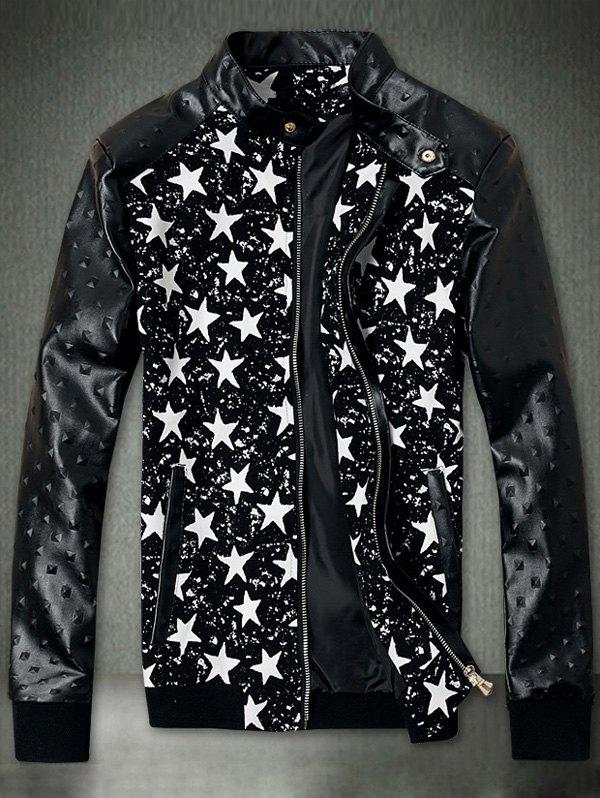 Embossed PU Leather Insert Star Print Zip Up Jacket - BLACK M