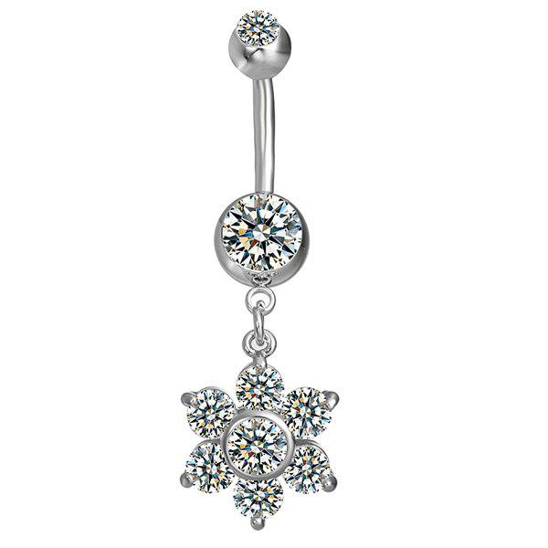 Layered Fleur strass Nombril Bouton - SILVER