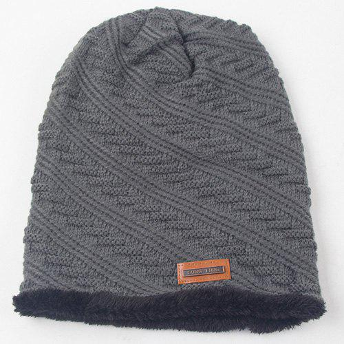 Winter Twill Stripy Thicken Double-Deck Knit Ski Hat - GRAY