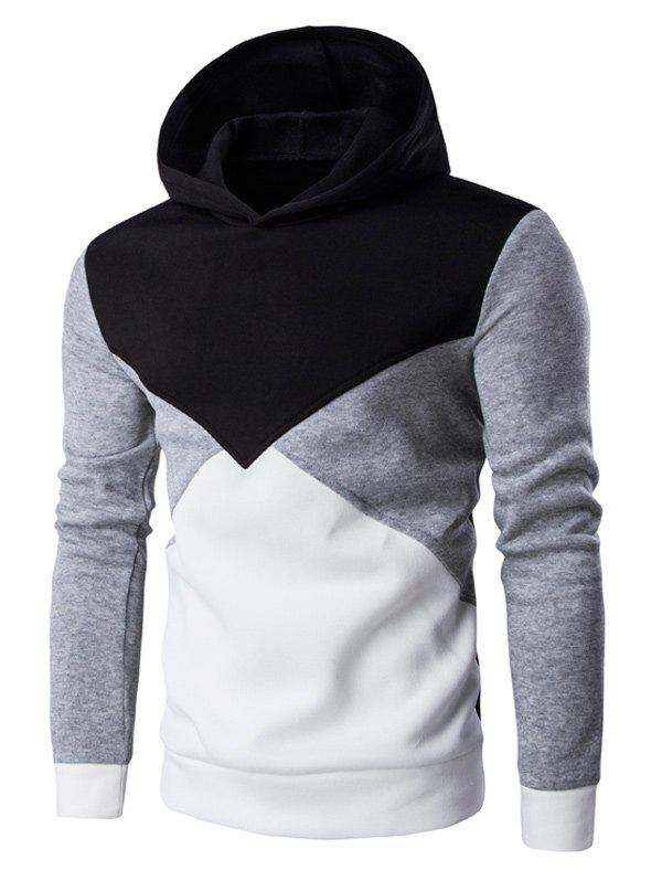 Slim Fit Color Blocked Pullover Hoodie - BLACK 2XL