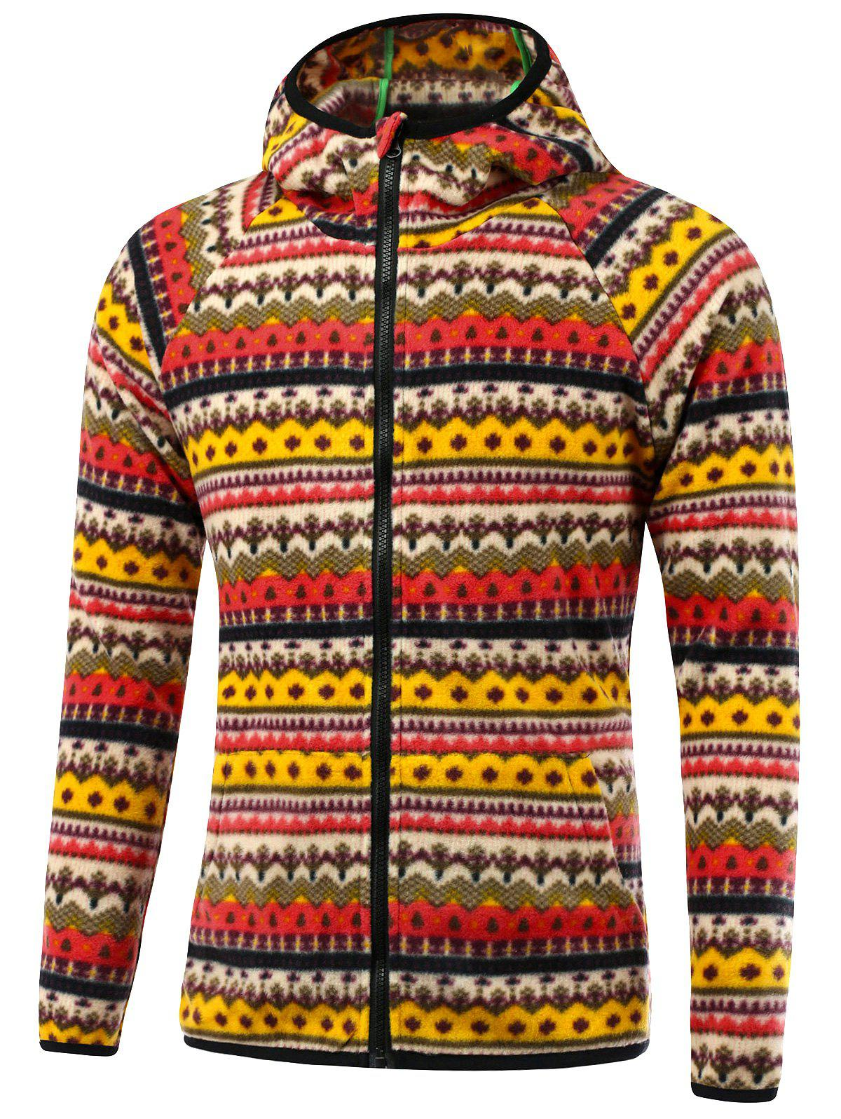 Raglan manches imprimé tribal Hooded Zip Up Jacket - Rouge L