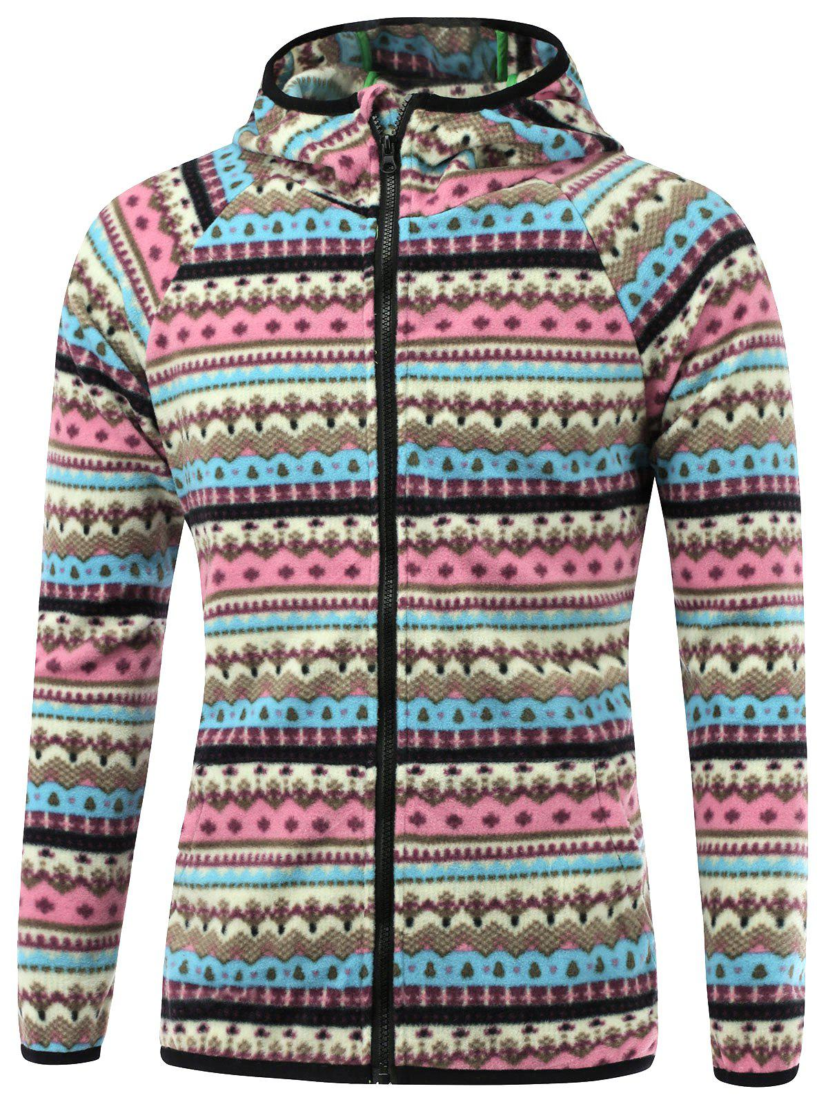 Raglan manches imprimé tribal Hooded Zip Up Jacket - Bleu XL