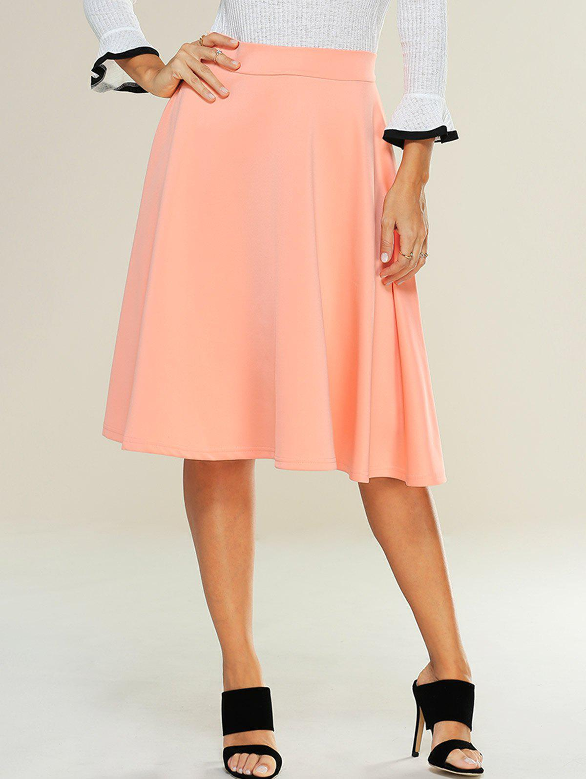High Waist Zipped A Line Skirt - ORANGEPINK M