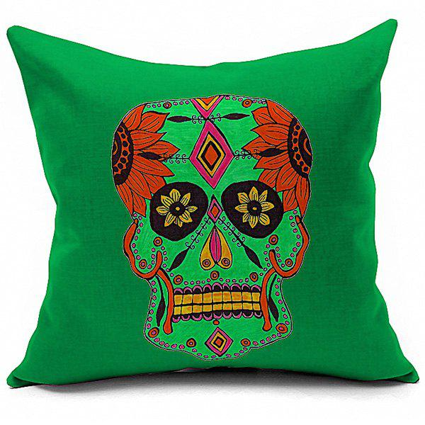 Sofa Cushion Halloween Floral Skull Printed Soft Pillow CaseHome<br><br><br>Color: COLORMIX