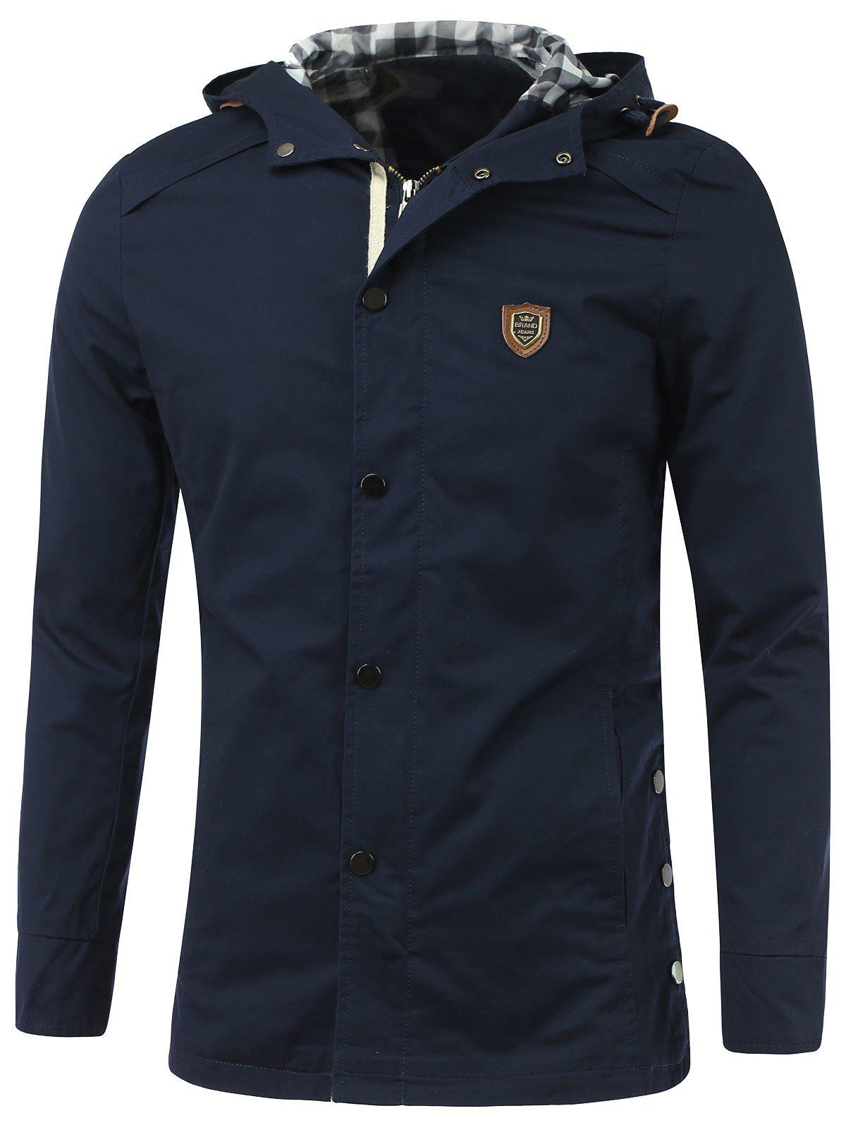 Manteau Badge Agrémentée Zip-Up Hooded - Bleu Saphir M