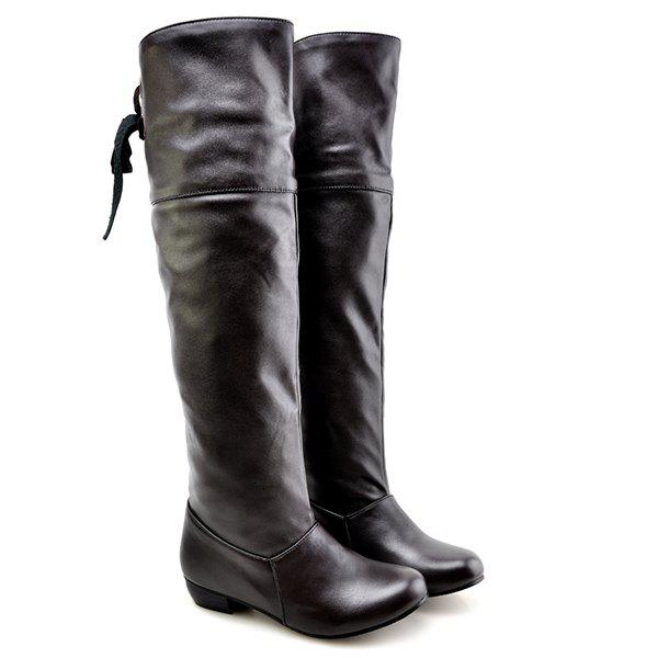 PU Leather Tie Up Flat Heel Knee High Boots от Dresslily.com INT