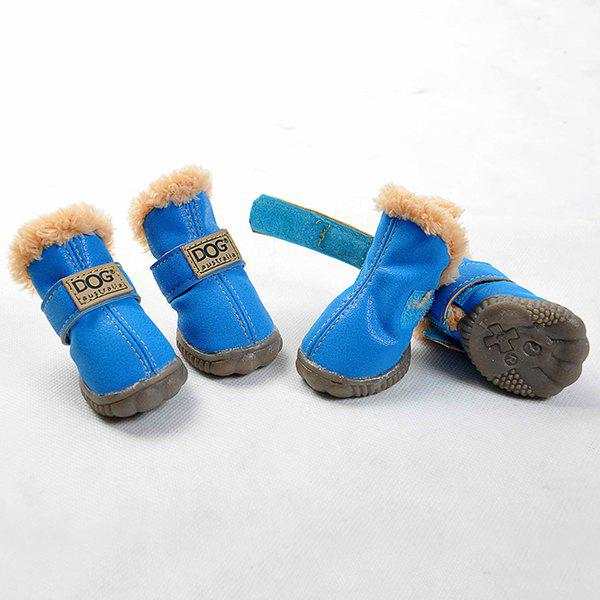 Winter 4PCS/ Set Pet Waterproof PU Dog Shoes - BLUE M