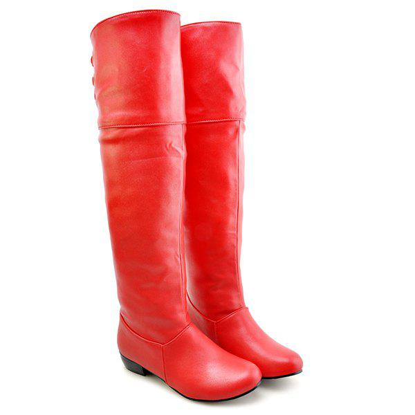PU Leather Tie Up Flat Heel Knee High Boots - RED 38