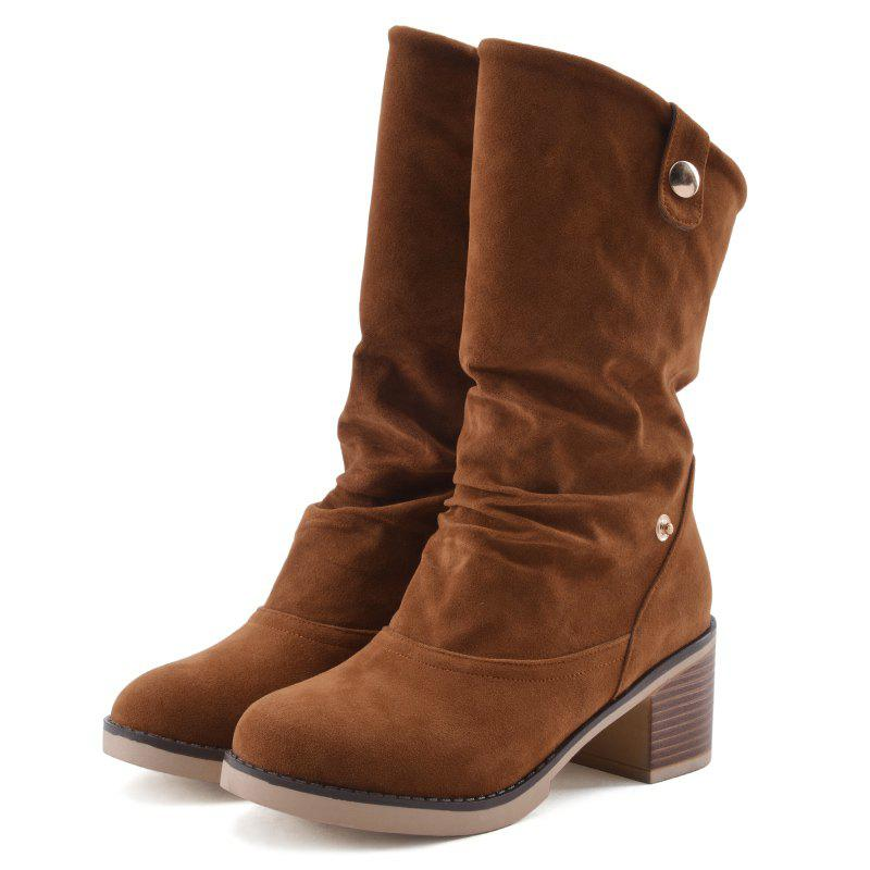 Chunky Heel Suede Boots - BROWN 38