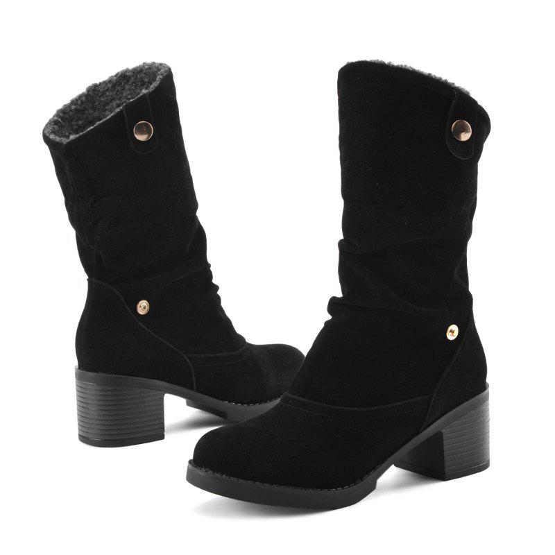 Chunky Heel Suede Boots - BLACK 37