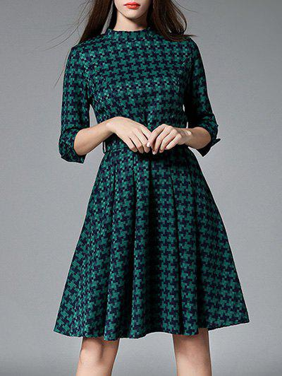3/4 Sleeves Plaid Belted Dress belted floral and plaid shell top