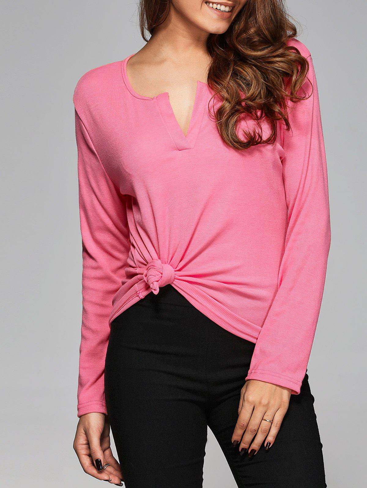 V Neck Slimming T-Shirt - PINK L