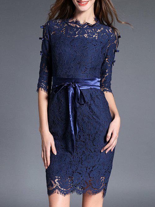 Laciness Bowknot Back Slit Dress - DEEP BLUE L