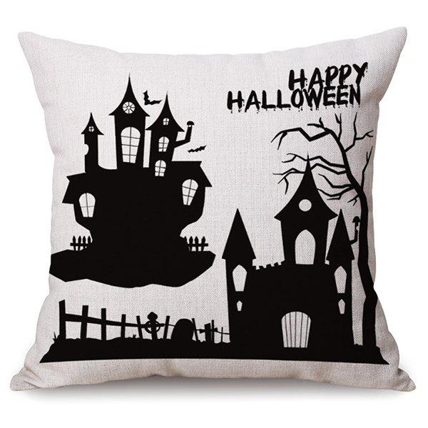 Sofa Cushion Happy Halloween Printed Antibacteria Pillow Case - WHITE/BLACK