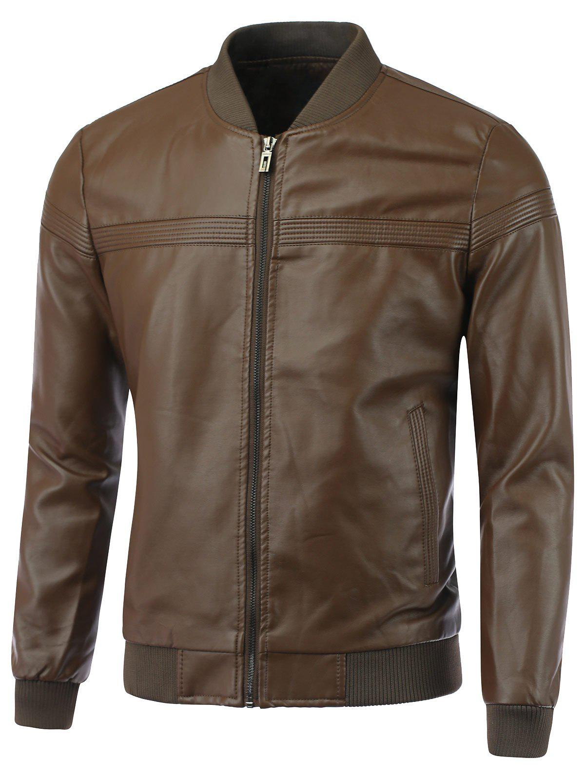 Rib épissage stand Collar Causal Zip-Up PU-Veste en cuir - café XL