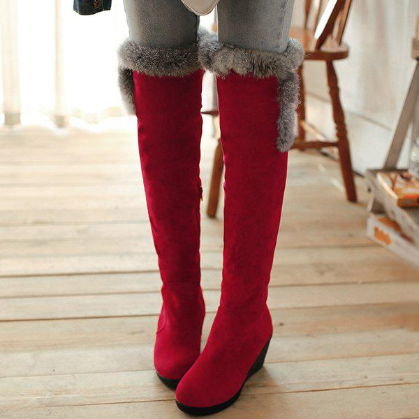 Platform Zipper Faux Fur Thigh Boots - RED 41