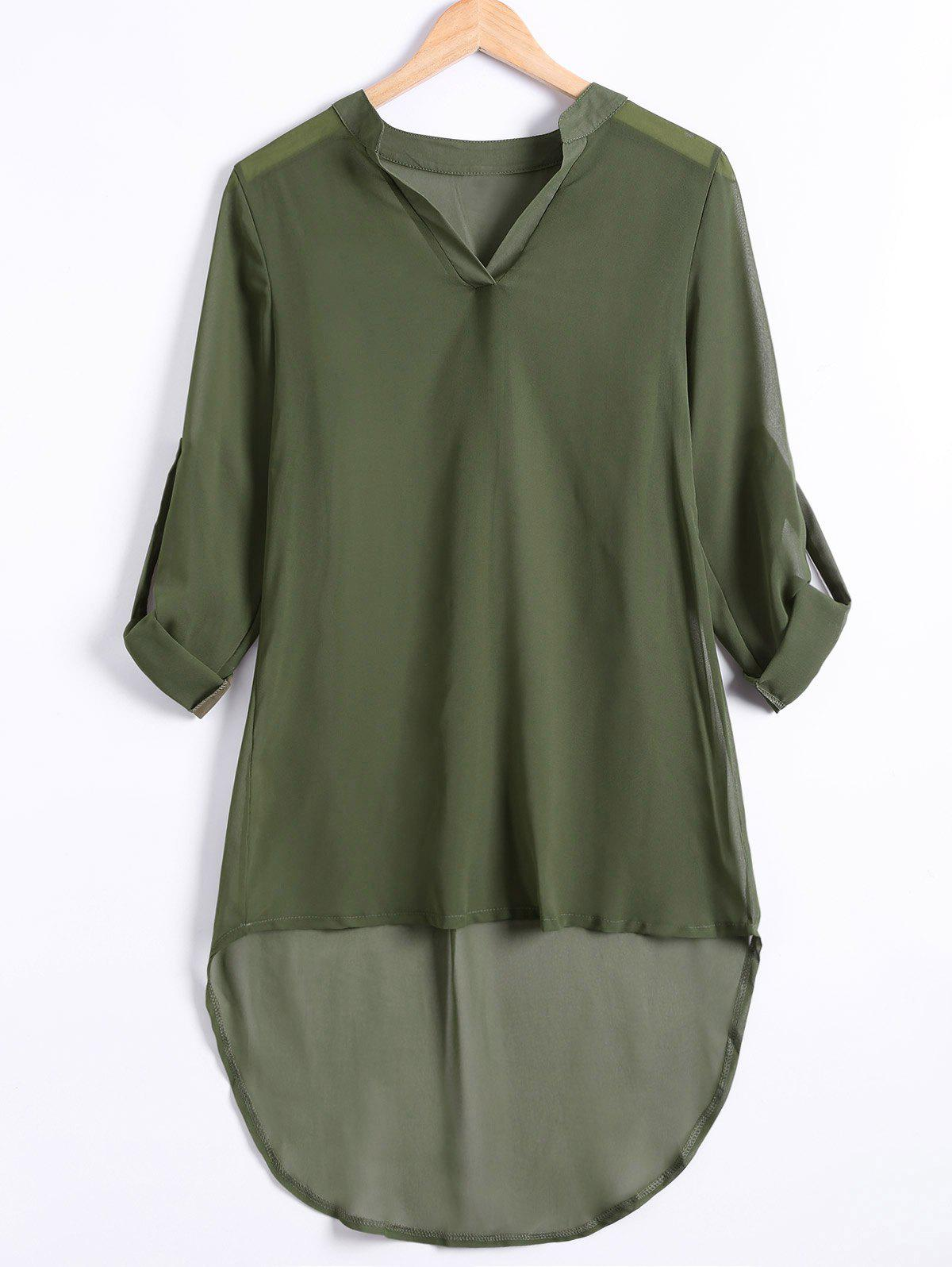 Hemming Sleeves Asymmetric Loose Chiffon DressWomen<br><br><br>Size: S<br>Color: ARMY GREEN