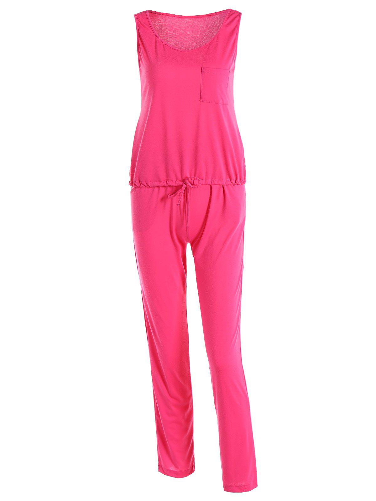 Haut sans manches + Pantalons simple - Rose Rouge XL