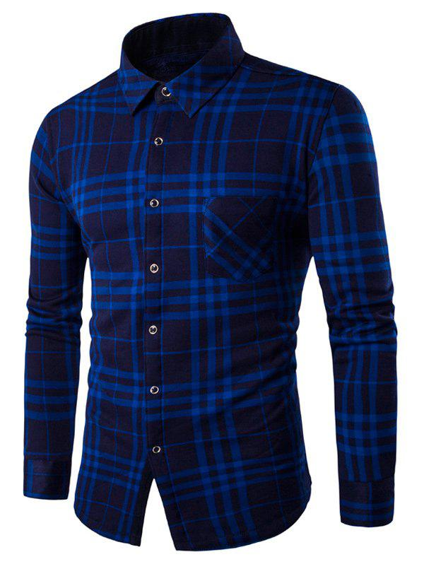 Long Sleeve Fleece Lined Checked ShirtMen<br><br><br>Size: 2XL<br>Color: BLUE
