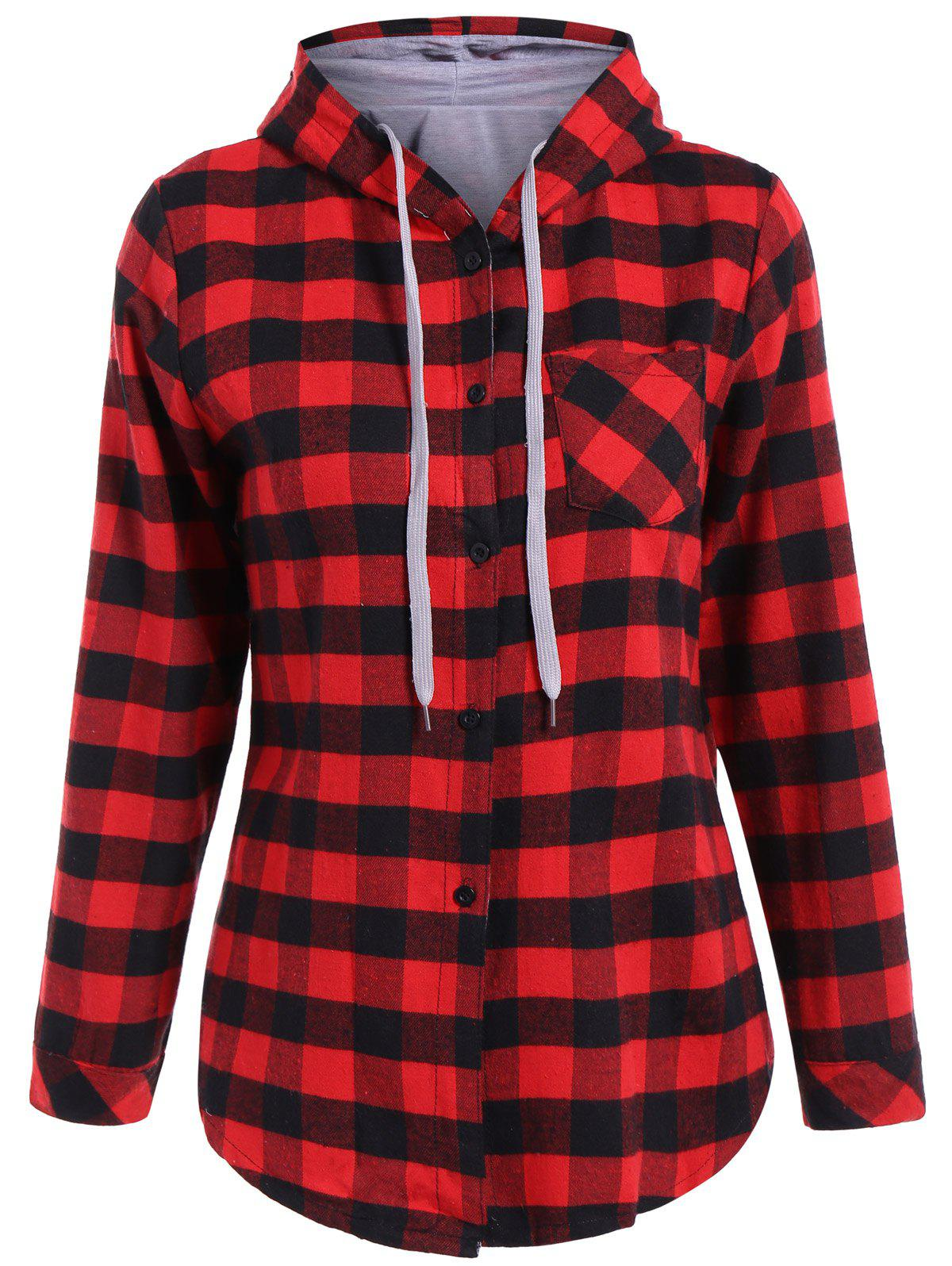 Casual Long Sleeve Hooded Plaid Check Shirt от Dresslily.com INT