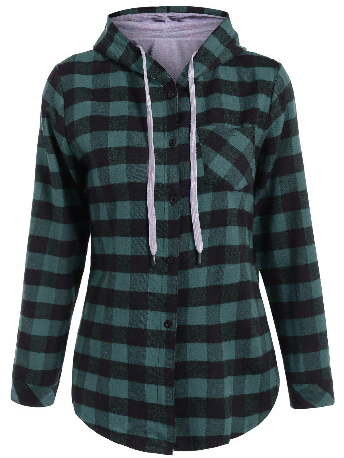 Long Sleeve Hooded Plaid Shirt от Dresslily.com INT