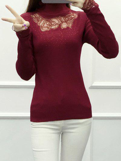 Lace Spliced See-Through Knitwear see through floral insert knitwear