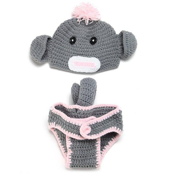 Crochet Hat Baby Monkey Photography Clothes Set - GRAY