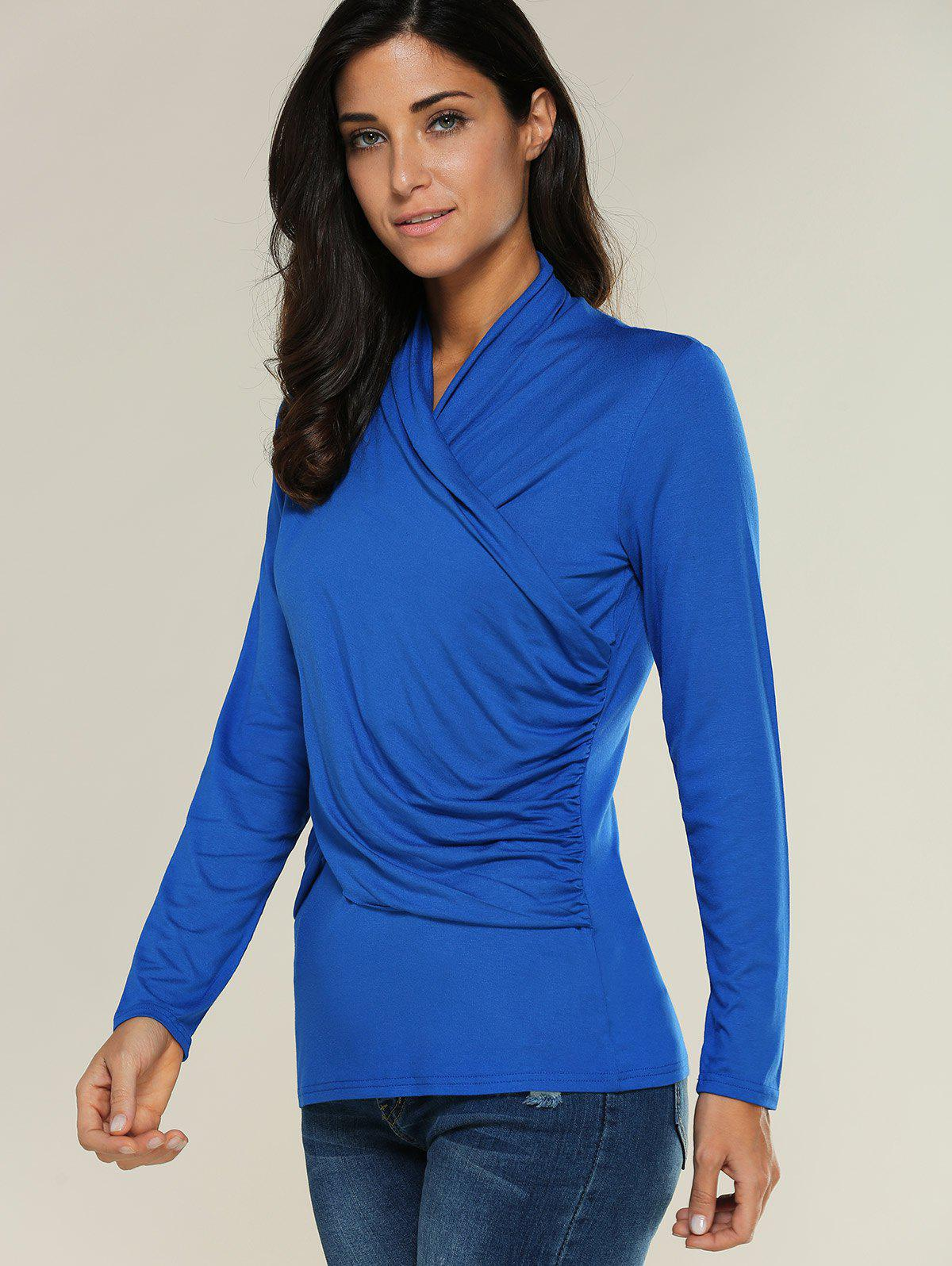 Ruffled Cross Wrap T Shirt - BLUE L